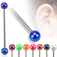 Metallic Coated Industrial Barbell Acrylic Ball  Surgical Steel Industrial Piercing Scaffold