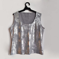 Silver Summer Top Sleeveless Gray Grey Womens Tank Top Elastic Medium M