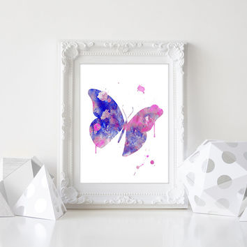 Butterfly Art Print, Watercolor Butterfly, Butterfly Painting, Nursery Art Print, Butterfly Poster, Butterfly Wall Art, Girls Room