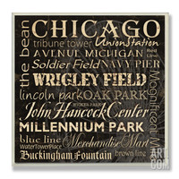 Chicago Landmarks Typography Wood Sign at Art.com