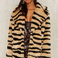 Jakke Heather Faux Fur Tiger Coat