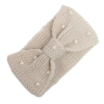 Korean Hair Accessories 2016 New Arrival Pearl Bow Crochet Headbands For Women Knitting Wool Head Wrap Ear Warmer Headwear LY