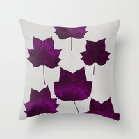 Mapleleaf Purple Throw Pillow by Garima Dhawan