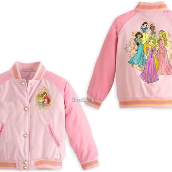 Licensed cool Eight Princess Pink School Varsity Jacket for Girls Disney Store 4 5/6 7/8 9/10