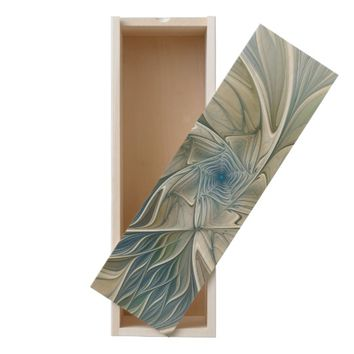 Floral Dream Pattern Abstract Blue Khaki Fractal Wooden Keepsake Box