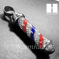 Mens Iced Out 316L Stainless steel  Silver Barber Shop Pole Pendant SS014