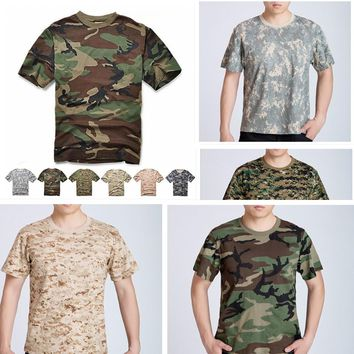 Man  Camouflage T-shirt Men Cotton Army Tactical Combat T Shirt Military Sport Camo Camp Mens T Shirts