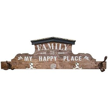 Family is My Happy Place Sign w/ Hooks