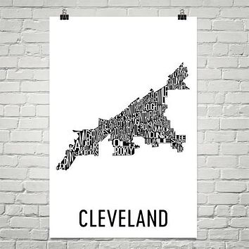Cleveland Neighborhood Typography Prints – Modern Map Art