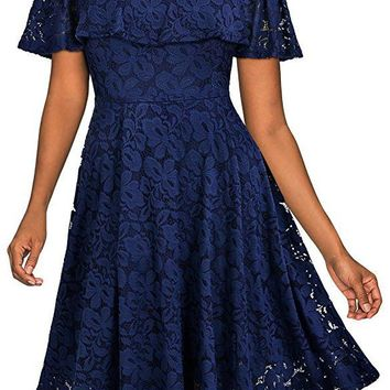 Solid Color Off Shoulder Short Sleeves Short Lace Dress