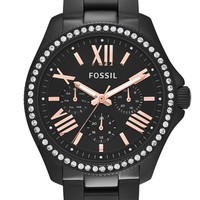 Women's Fossil 'Cecile' Multifunction Bracelet Watch, 40mm - Black/ Rose Gold