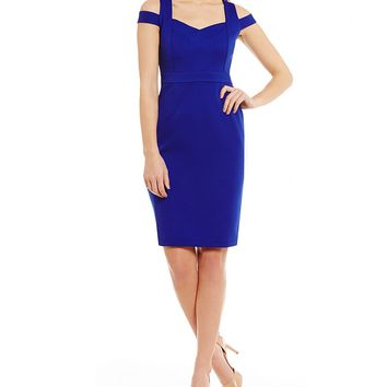 Adrianna Papell Sweetheart Neck Cut-out Cold Shoulder Fitted Sheath Dress | Dillards