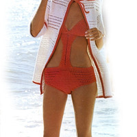Vintage Swim Suit Cover Up, Bathing Suit & Floppy Brim Hat Crochet Pattern | Los Angeles Needlework