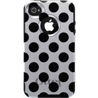 CUSTOM Black OtterBox Commuter Series Case for Apple iPhone 4 / 4S - Black & White Polka Dots