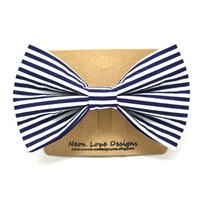 Nautical Blue and White Stripe Hair Bow Barrette