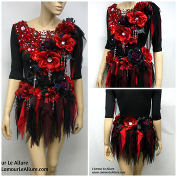 Burgundy Red and Black Goth Fairy Leotard and Skirt