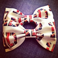 One Direction British flag handmade fabric hair bow from Bowlicious Divas Bowtique