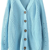 ROMWE | ROMWE V-neck Long Sleeves Sky Blue Cardigan, The Latest Street Fashion