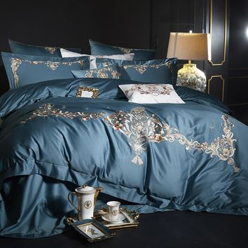 Queen King size Luxury Egyptian Cotton Blue Bedding set Queen King size Embroidery Quilt/Duvet cover Bedsheet set Pillowcase