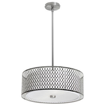 Dainolite 1015-17P-SC Casual Satin Chrome Three Light Pendant with Laser Cut Shade and Glass Diffuser