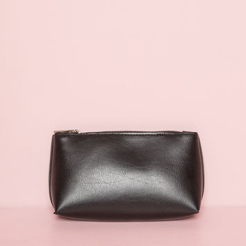 Black Faux Leather Pouch