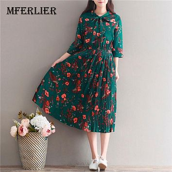 Women Dress Casual Literature Vintage Flower Print Chiffon Draped Dress Three Quarter Sleeve Butterfly Collar Dresses Size S-2XL