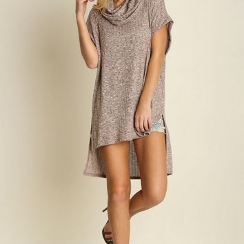 Cowl Neck High Low Sleeveless Tunic
