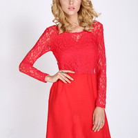 Red Bowknot Long Sleeve Lace Backless A-line Mini Dress