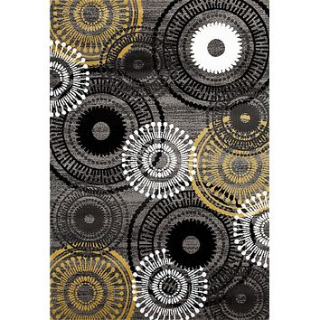 2911 Yellow-Gray Medallion Contemporary Area Rugs