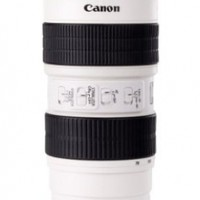 Claybox Canon 70-200mm f/2.8L 16.5-Ounce 1:1 DSLR Camera Lens Coffee Tea Mug, Stainless Steel Interior, Plastic Exterior