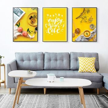 SURE LIFE Nordic Enjoy Your Life Yellow Food Tea Canvas Paintings Wall Art Pictures Poster Print Living Room Home Decoration