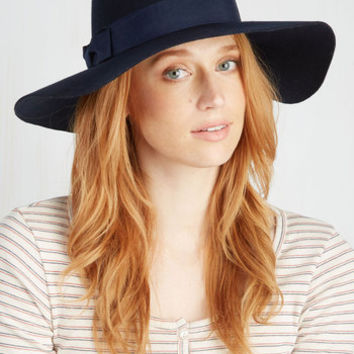 Boho Film Noir and Again Hat in Midnight Blue by ModCloth