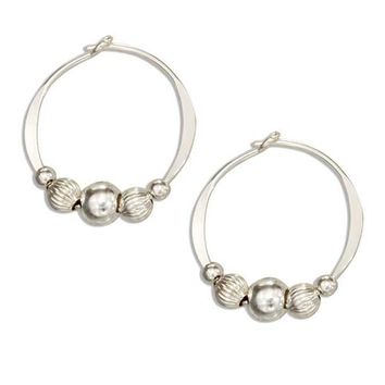 Sterling Silver 16mm Hoop Earrings with High Polish & Corrugated Beads