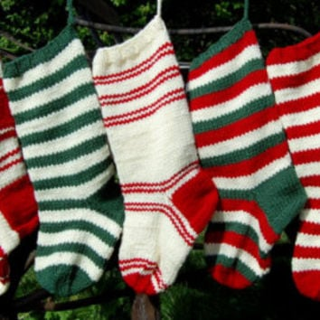 Hand Knit Christmas Stocking , Knitted Striped Christmas Stocking, Christmas Gift