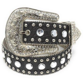 LMFYW3 Blazin Roxx Black Croc Leather & Clear Rhinestone Belt