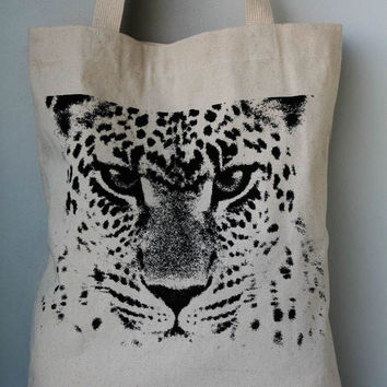 Leopard Face Canvas tote bag/Diaper bag/Shopping bag/ Document bag /Market Bag.