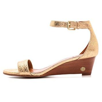 Tory Burch Savannah 45mm Wedge Sandal, Spark Gold, Size US 7