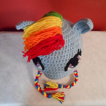 My Little Pony Rainbow Dash Hat- MLP, Crocheted Earflap Hat, All Sizes, Birthday, Brony Gift, Includes Cutie Mark