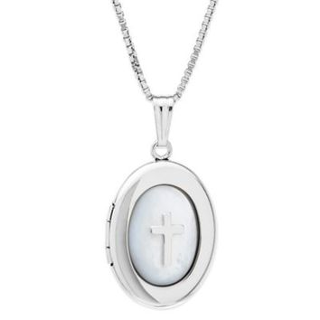 New England Locket Sterling Silver 18-Inch Chain Oval Mother of Pearl Cross Locket Necklace