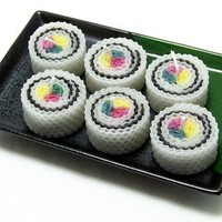 California Roll Sushi Candles Inside Out 6 Piece Gift Pack Bento Box