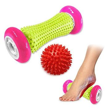 Pasnity Foot Massage Roller Spiky Ball Foot Pain Relief Massager Relieve Plantar Fasciitis and Heel Foot Arch Pain and Relax Shoulder Foot Back Leg Hand, Included 1 Roller & 1 Spiky Balls (Rose Red)