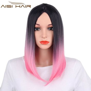 "It's a wig 18"" High Temperature Fiber Synthetic  Ombre Pink Color Straight Wigs Short Hair for Women"