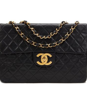CHANEL BLACK QUILTED LAMBSKIN VINTAGE MAXI JUMBO XL FLAP BAG HB907