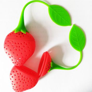 Silicone Strawberry Loose Tea Leaf Strainer & Herbal Spice Infuser