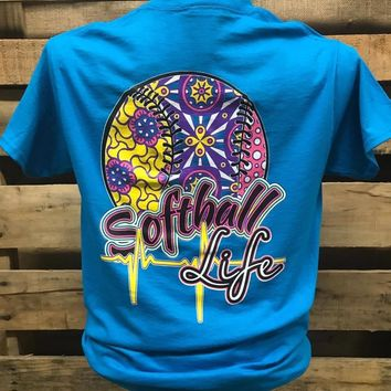 Southern Chics Softball Life Sports Girlie Bright T Shirt