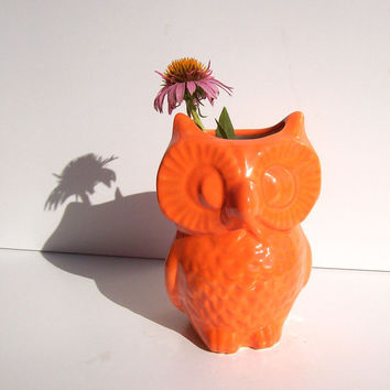 Ceramic Owl Vase Vintage Design in Orange Office Gift Pencil Holder