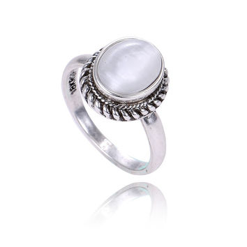 Fashion Vintage Jewelry Antique Silver Plated Retro Oval Natural Stone Opal Rings For Women