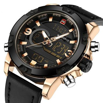 Men's Analog Digital Leather Watch