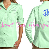 Key Lime Women's Monogrammed Bonehead Columbia PFG Fishing Shirt