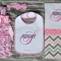 Monogrammed baby girl pink,gray and white chevron newborn ruffled romper rosette headband bib and burp coming home outfit baby shower gift
